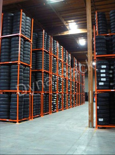 Tire stack racks.
