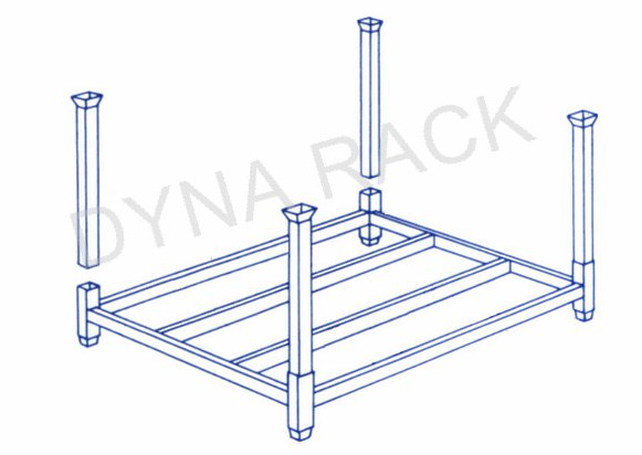 Pad stack rack drawing with post.